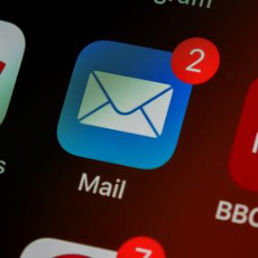 an email app shows notification for two unread emails